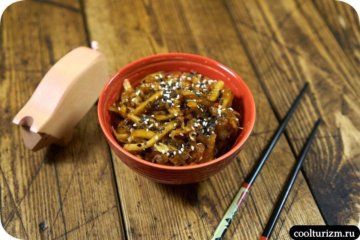 быстрая закуска из кабачков в корейском стиле