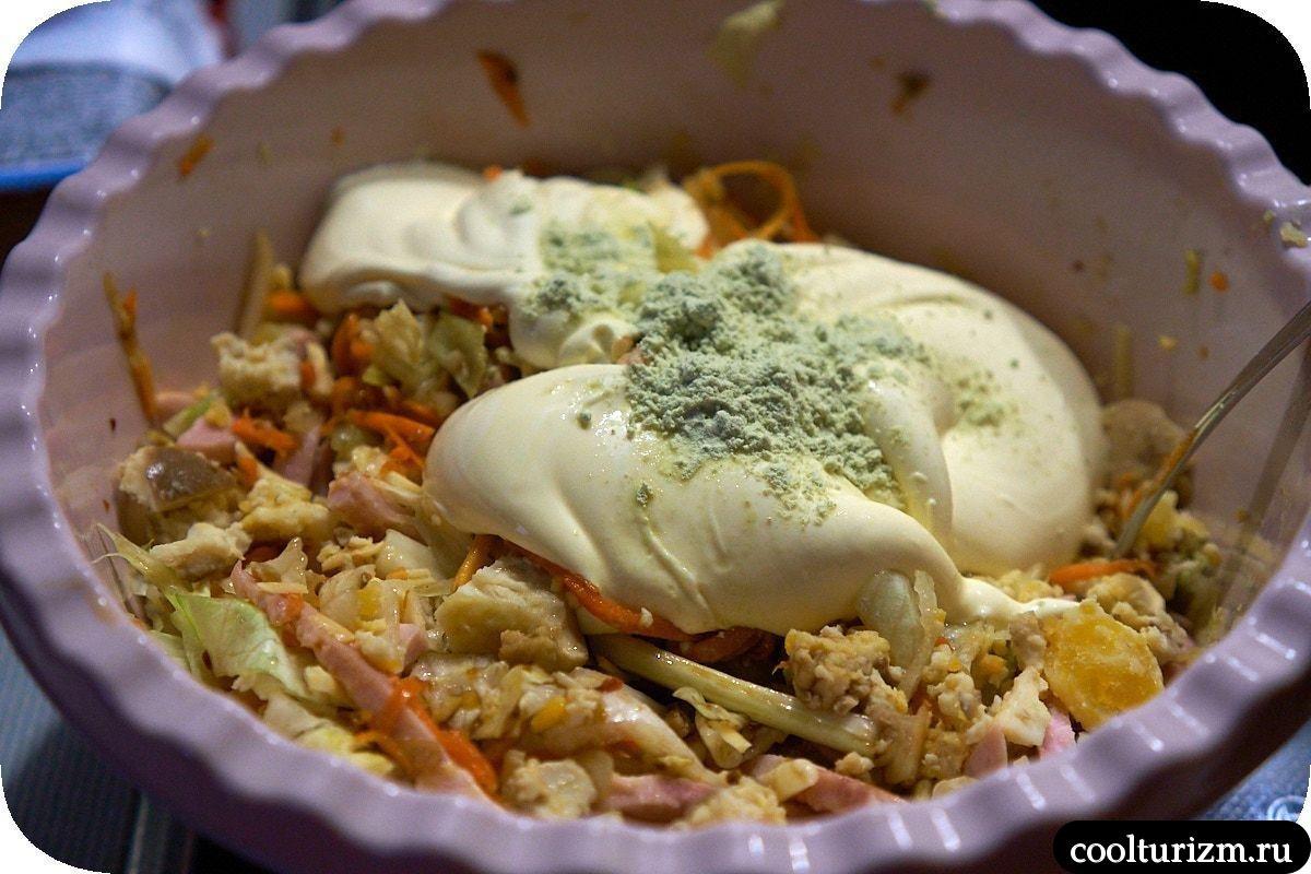 рецепт салата с ветчиной и капустой азиатский