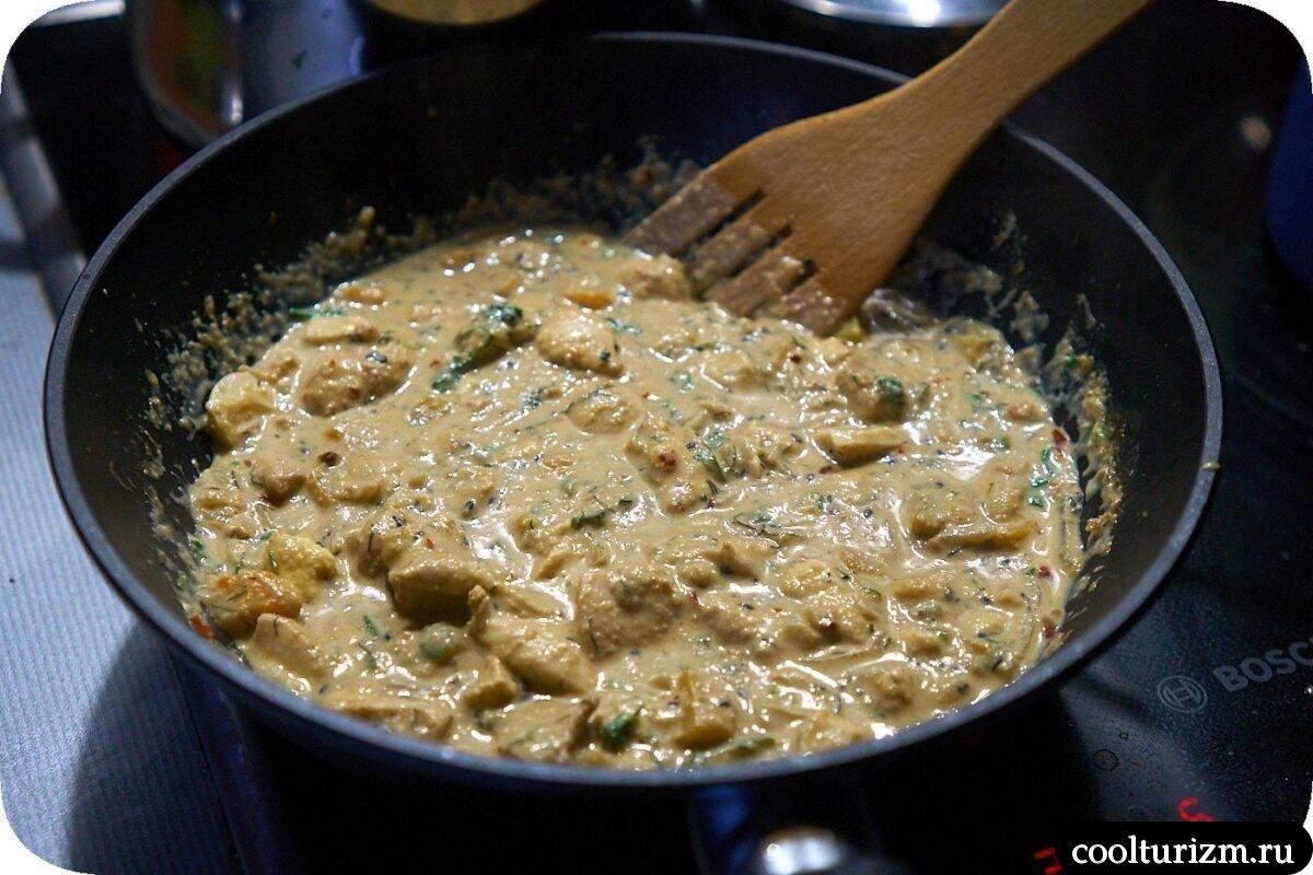 рецепт спагетти овсяные с мясом и овощами в сливочном соусе