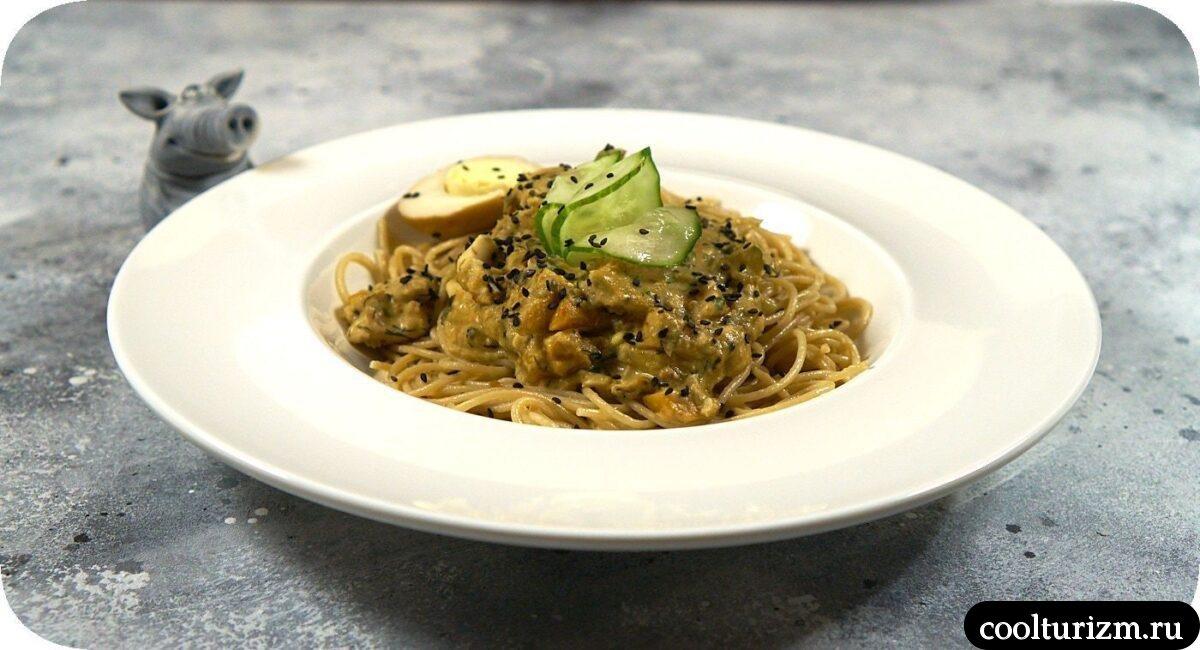 пошаговый рецепт спагетти овсяные с мясом и овощами в сливочном соусе