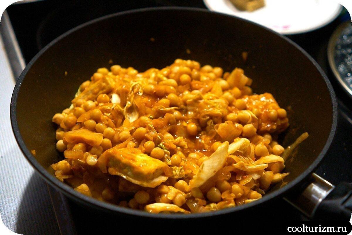 как готовить рецепт нута с тофу и пекинской капустой