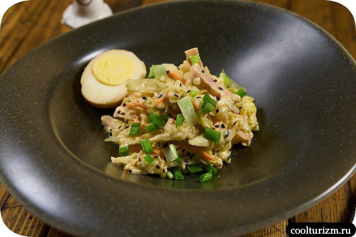 рецепт салата с ветчиной и капустой