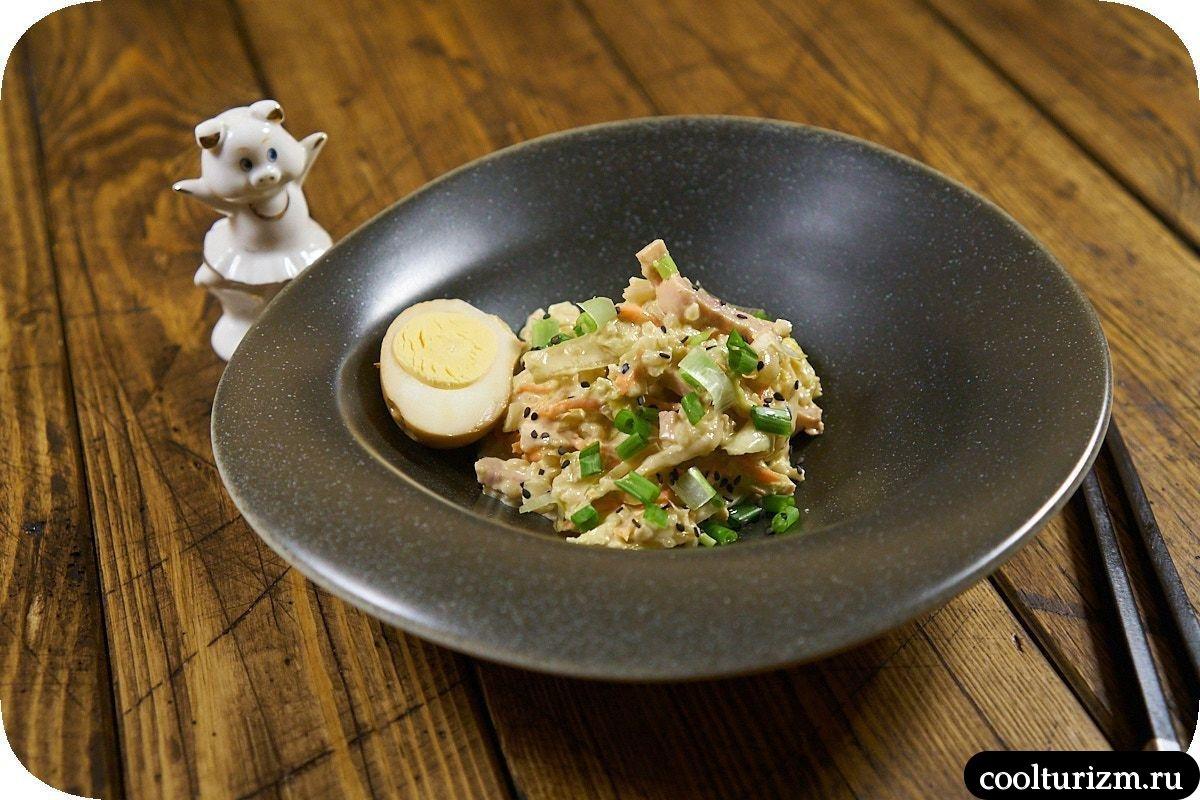 рецепт салата с ветчиной и капустой пошагово