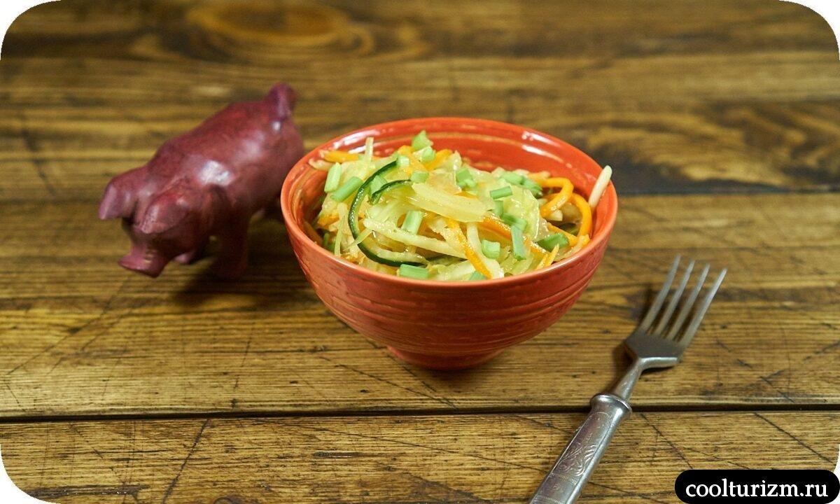 салат свежая капуста морковь огурец пошаговый рецепт