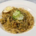 Спагетти овсяные с мясом и овощами в сливочном соусе