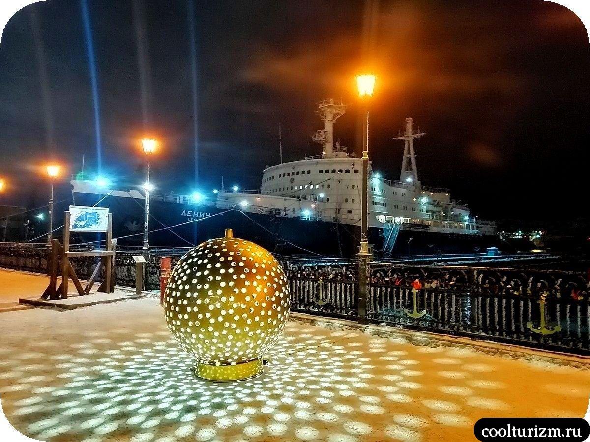 Морской вокзал в Мурманске на Новый год Ленин ледокол