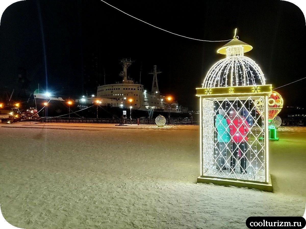 Морской вокзал в Мурманске на Новый год