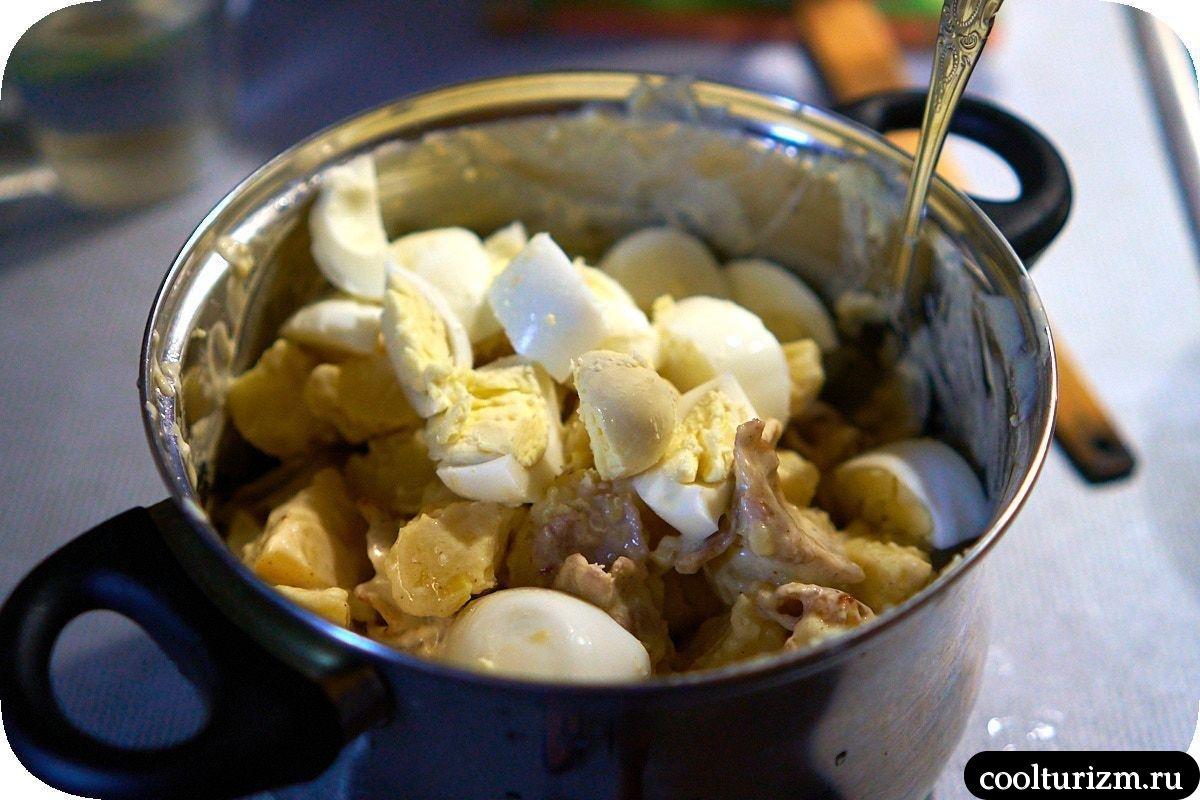 простой Рецепт салата с картошкой и беконом