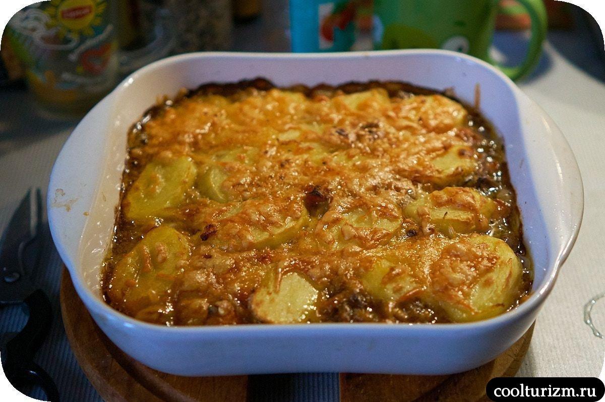 Картофельная запеканка с грибами и сыром пошагово