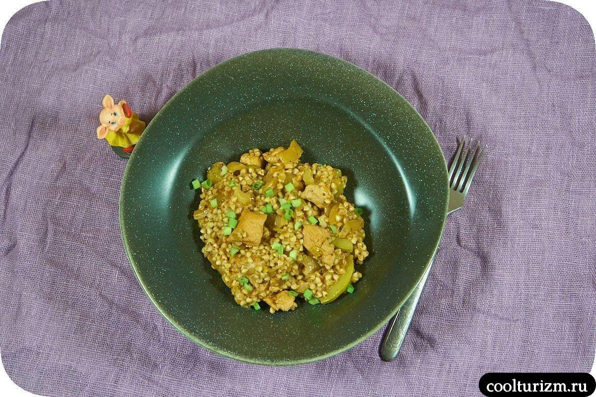 куриная грудка с зеленой гречкой и кабачками рецепт