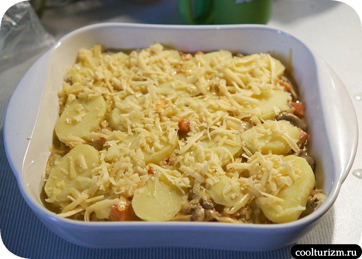 Картофельная запеканка с грибами и сыром