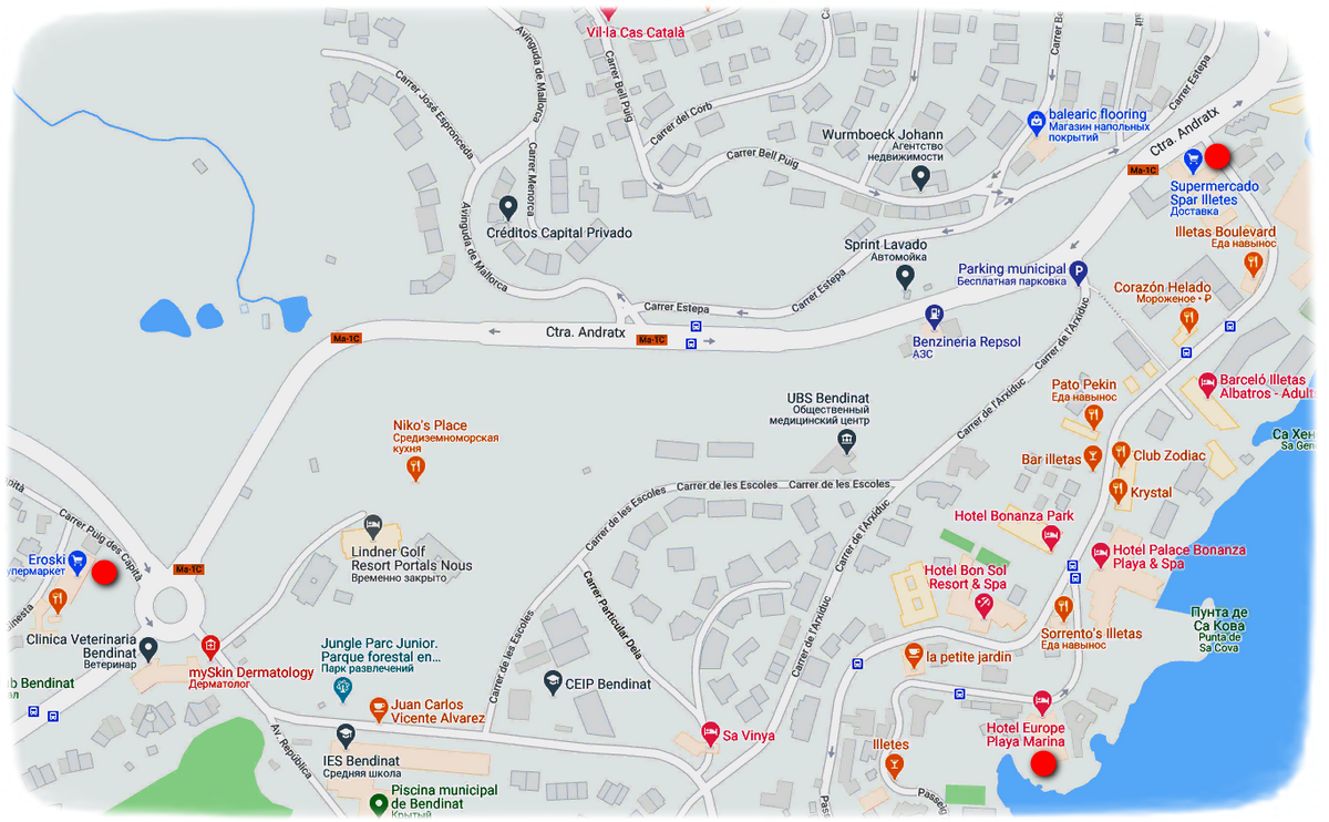 Еда в Ильетас Майорка карта супермаркетов
