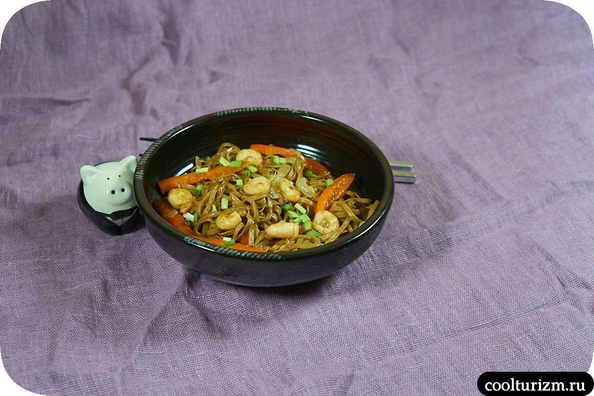 Соба с креветками и овощами рецепт
