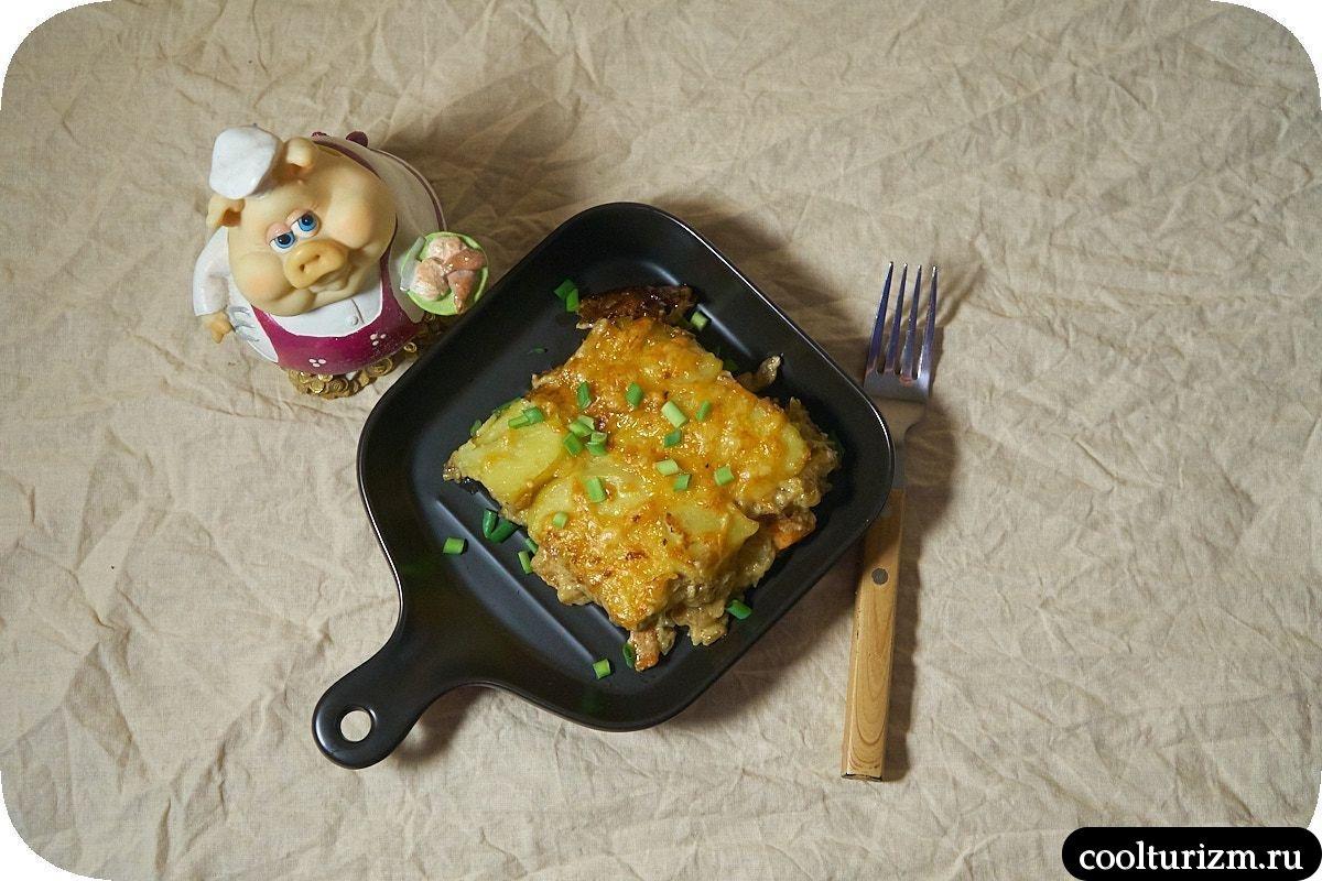 Картофельная запеканка с грибами и сыром рецепт