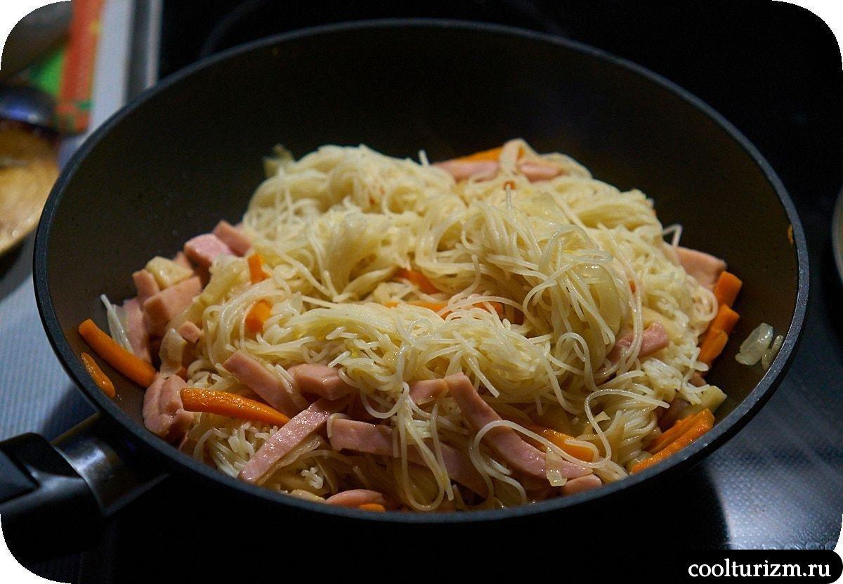 Рисовая лапша с ветчиной рецепт