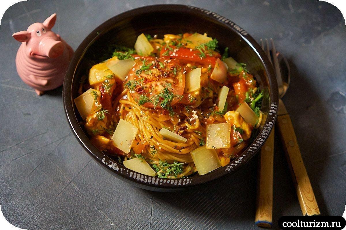 Томатные спагетти с курицей рецепт