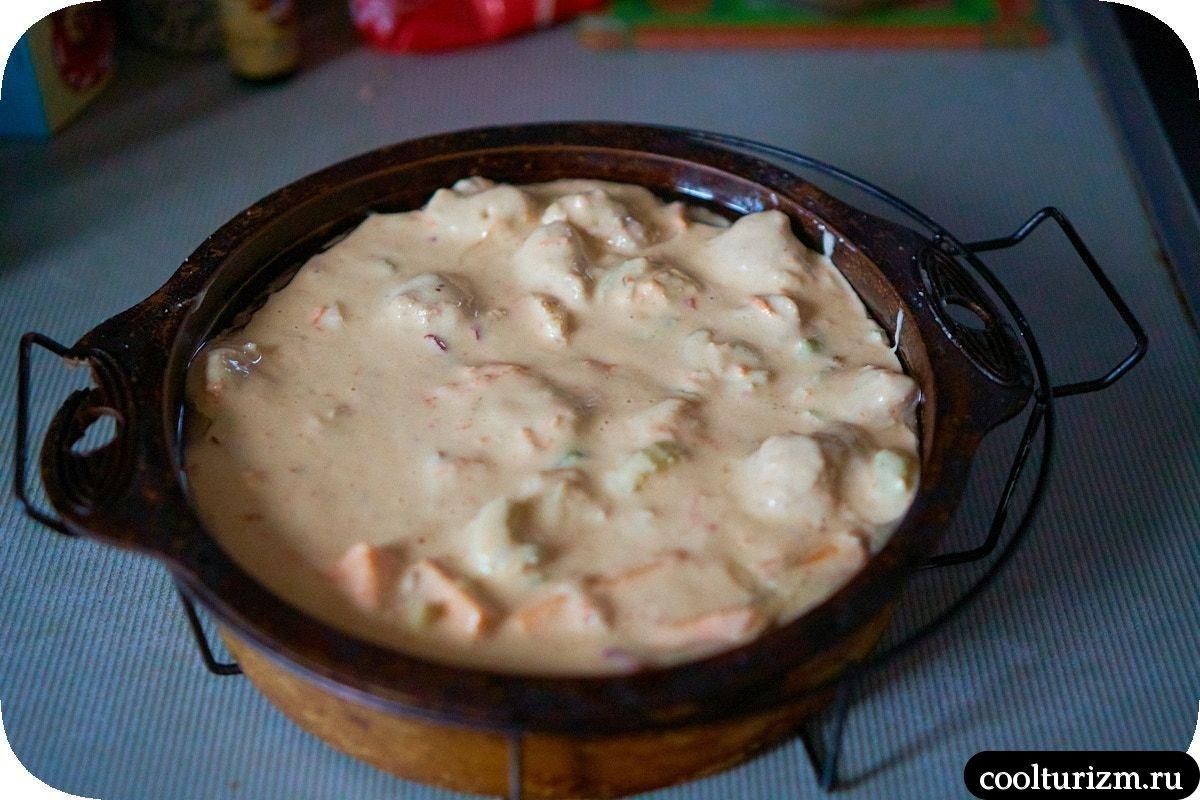 Пирог с кимчи и соевым мясом тесто