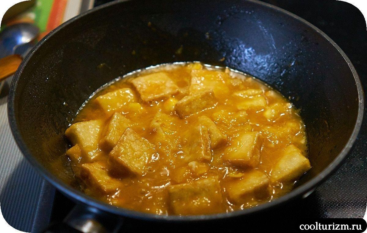 Тофу в апельсиновом соусе с рисом рецепт