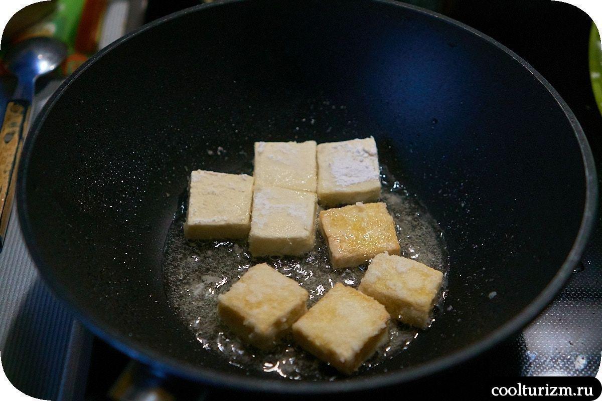 Тофу в апельсиновом соусе с рисом обжарка тофу