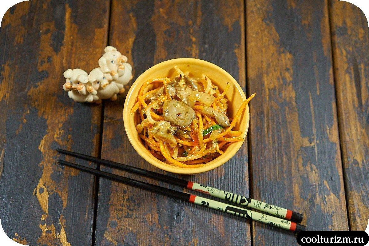 Вешенки с корейской морковью и дайконом