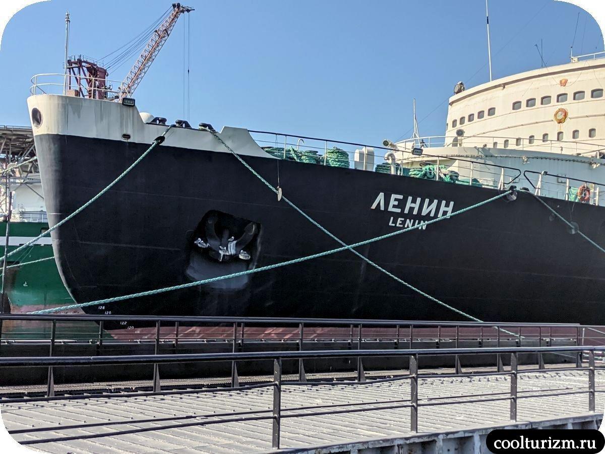 чайки на ледоколе Ленин Мурманск