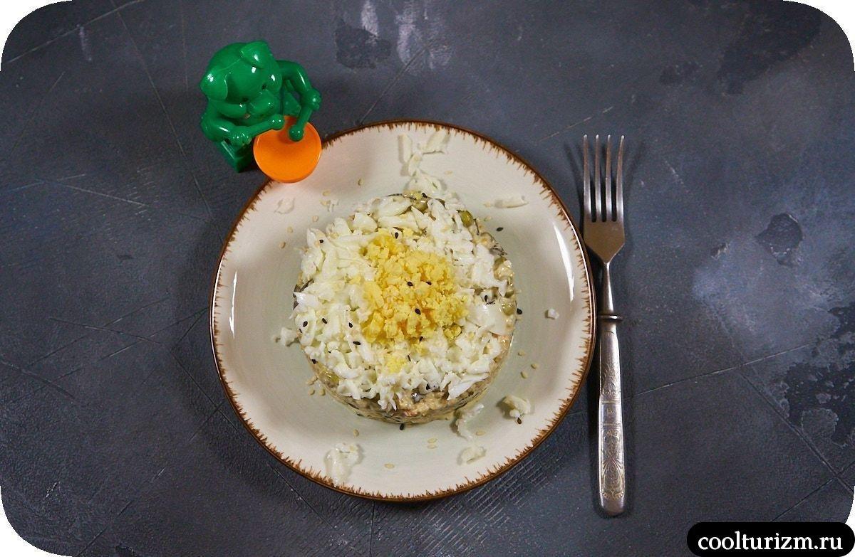 Салат с тунцом и креветками пошагово с фото