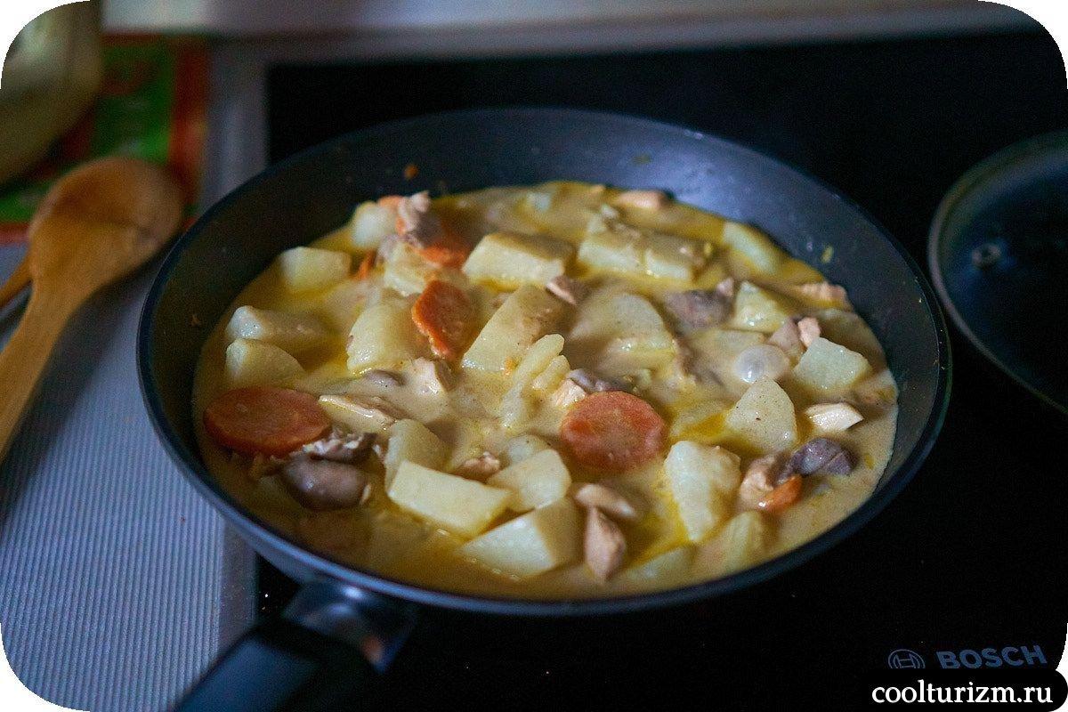 вешенки с картошкой и курицей