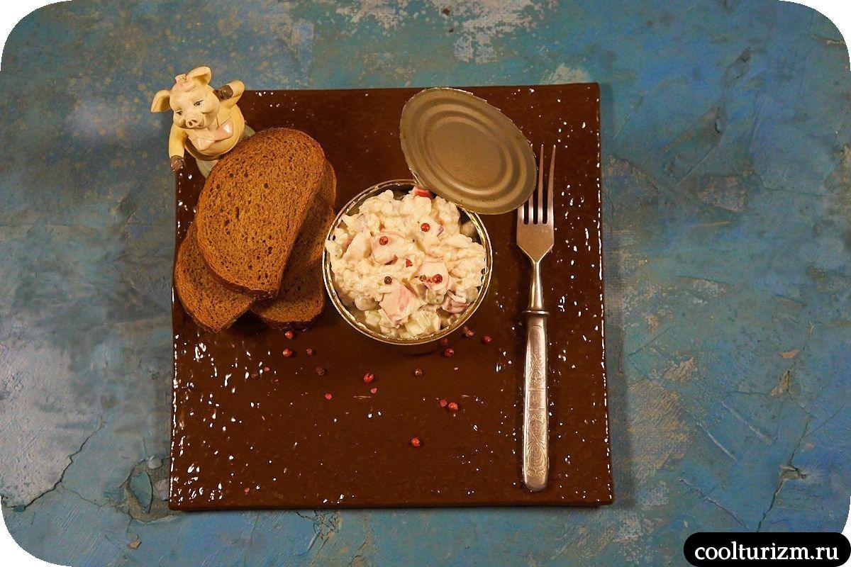 Салат из трески с крабовыми палочками