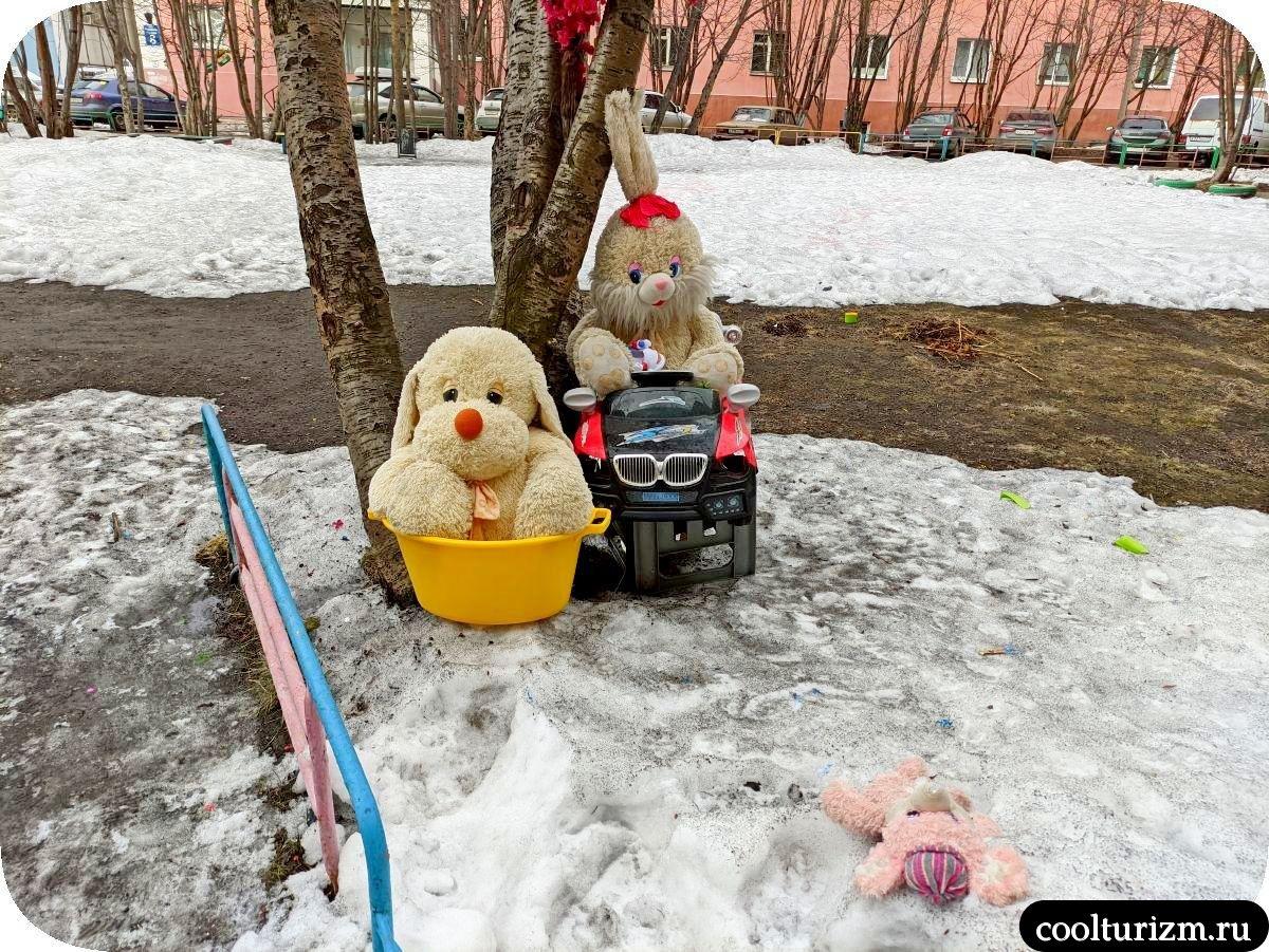 Плюшевый ад мурманских дворов звери в снегу
