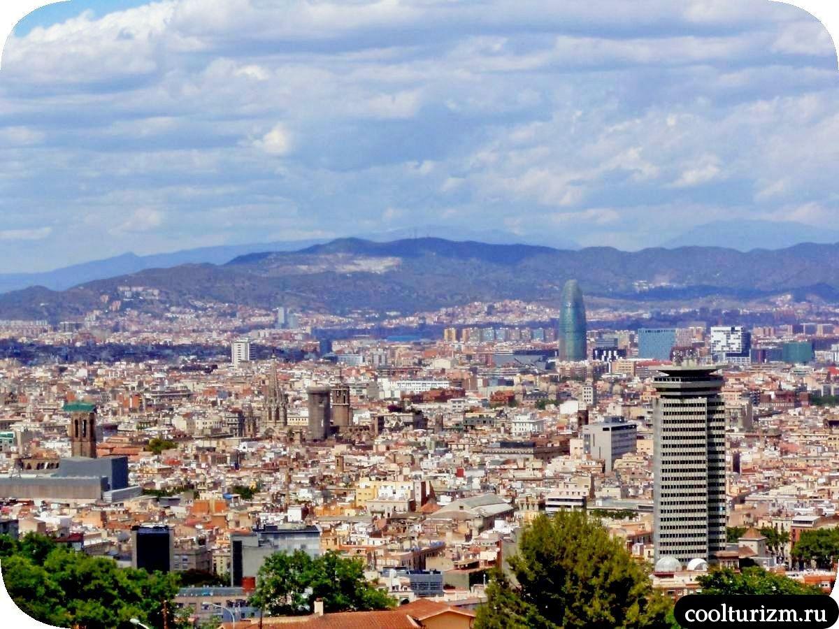 Гора Монжуик в Барселоне башня Агбар