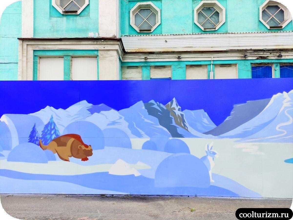 Граффити Мурманск заяц и хорек
