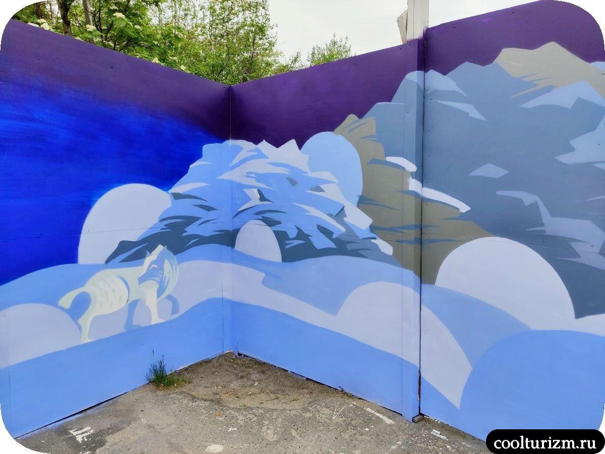 Граффити Мурманск волк позорный