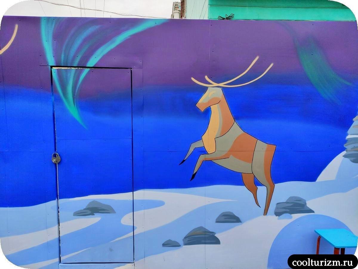 Граффити Мурманск северный олень