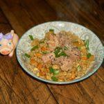 Нежное мясо с жареным рисом