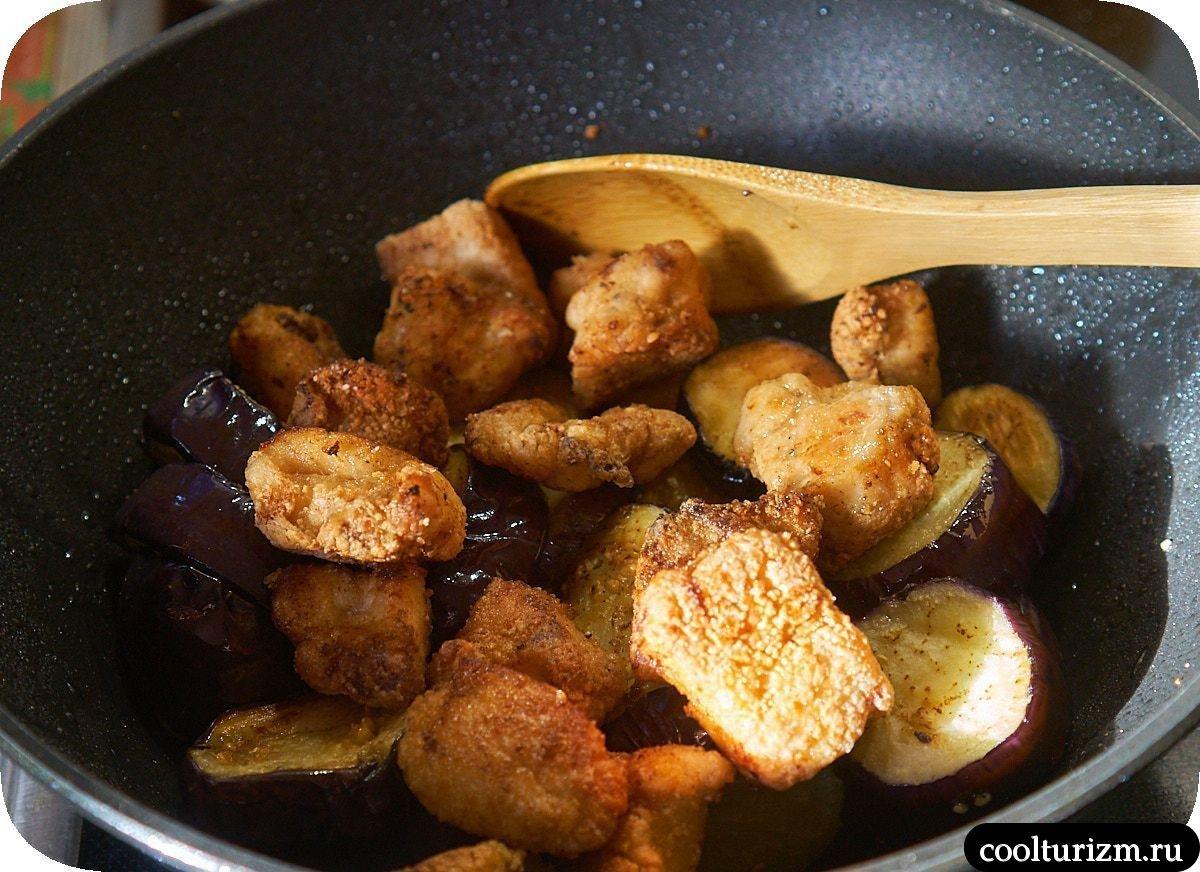 Жареные баклажаны с курицей по-японски простой рецепт