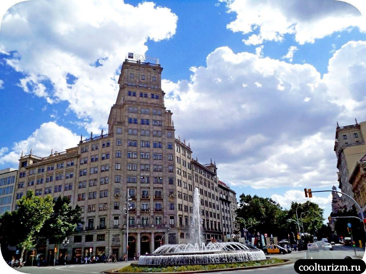 фонтан и Дворец Марсе и кинотеатр Комедия в Барселоне